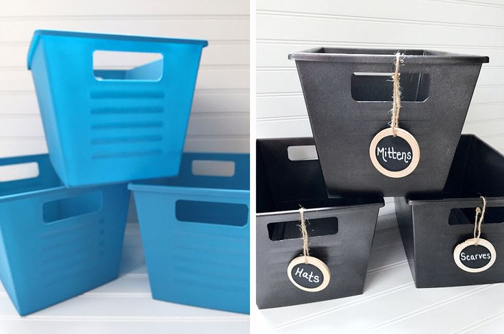 She took dollar store plastic bins and turned them into farmhouse style with metallic spray paint - so smart!