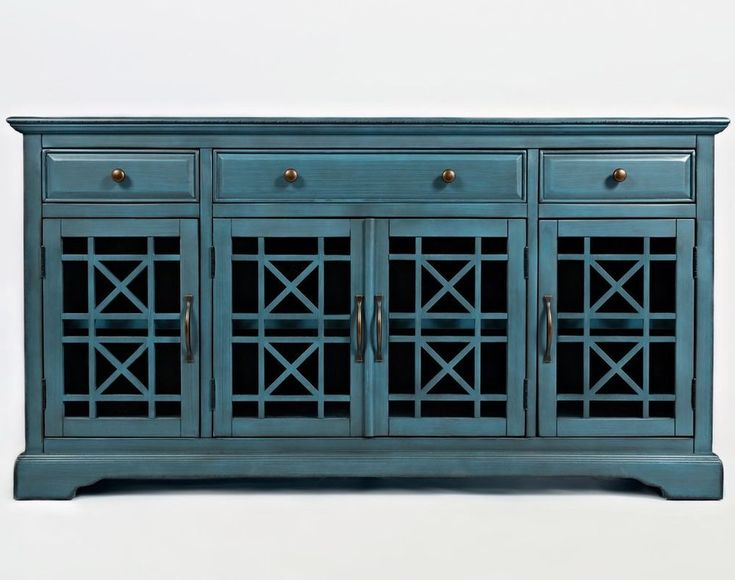 "New Distressed Wood Blue 4 Door TV 60"" Media Cabinet Stand Sideboard Assembled #MDFC #Contemporary"