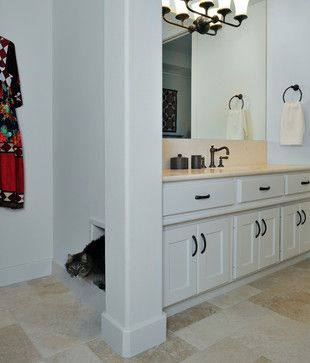 Master Bath Remodel with built-in kitty litter box - eclectic - bathroom - houston - Carla Aston | Interior Designer    I like the kitty litter box included. It would give me more space in the laundry room and would work in the 2nd bathroom.