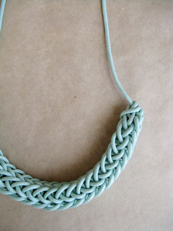 Knitted Waxed Cotton Necklace  Mint or Apple by HearsayDesigns, $35.00