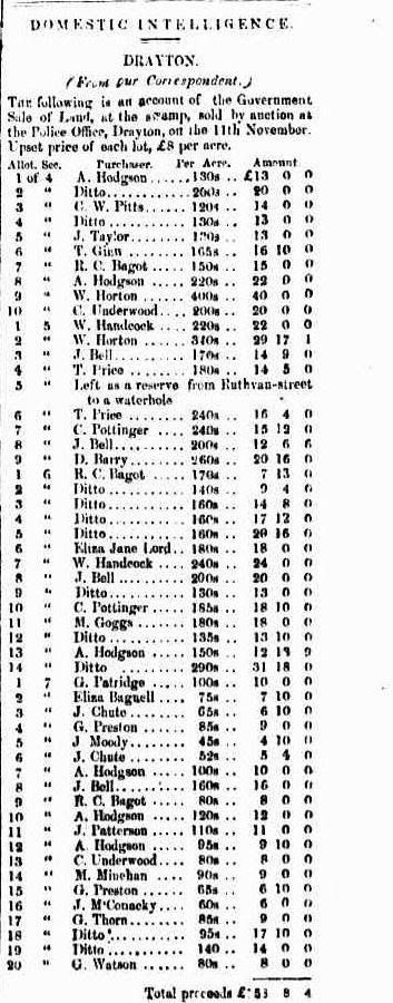 Queensland - Sale of Swamp Land in Drayton - 11th November 1853