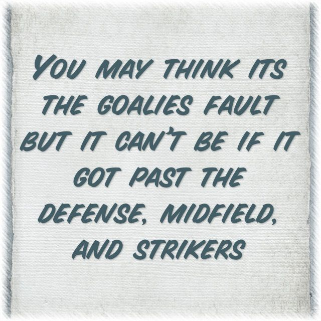 Players always complain if someone gets scored on, they should try being goalie and see how it feels!