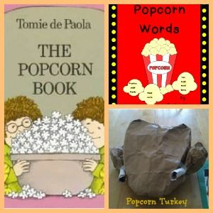 Tomie dePaola's The Popcorn Book with a Thanksgiving and Popcorn twist! Free Printables.