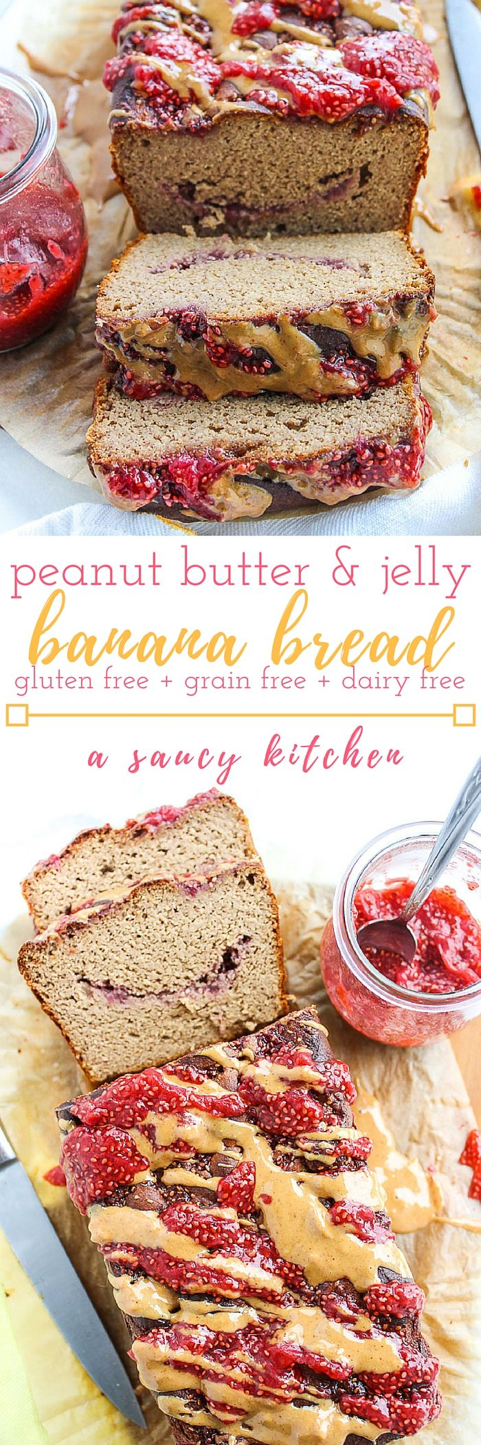 No mixing bowls needed for this Peanut Butter and Jelly Banana Bread! Swap out the peanut butter for almond butter to make this Paleo friendly