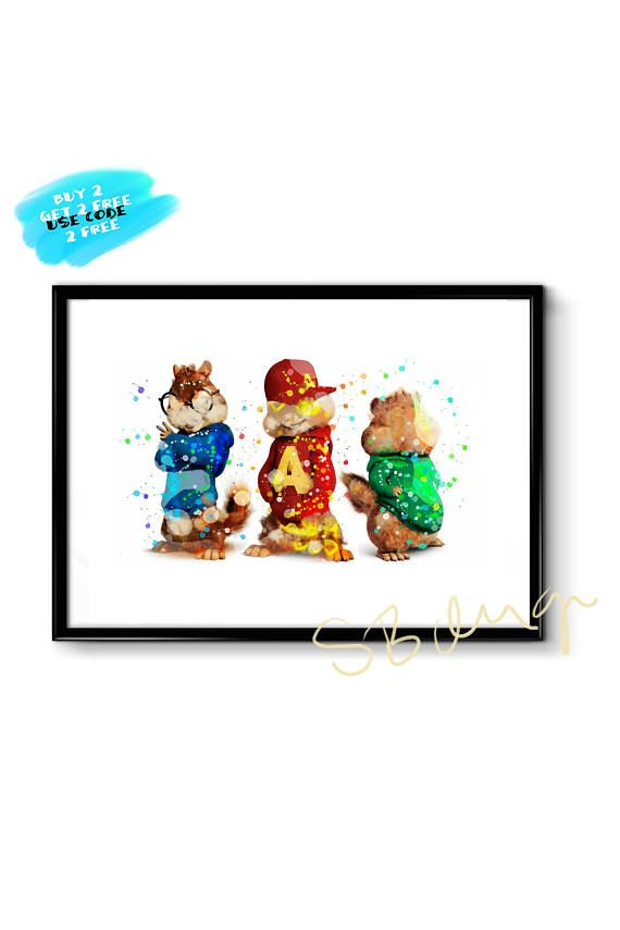 Chipmunks Poster Alvin and The Chipmunks Poster Watercolor