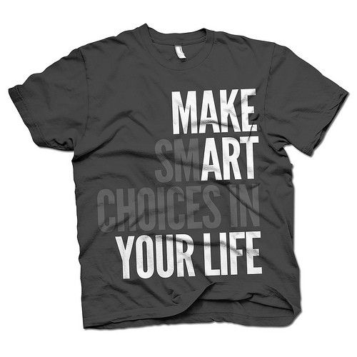 This t-shirt design is bad. Choose a different color so its easy to see and read. Maybe choose a more interesting typography. Those two things might help make the words a visual hierarchy.
