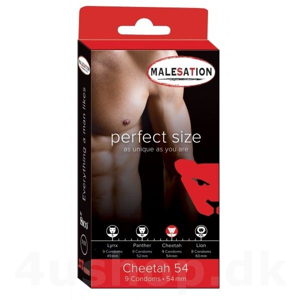 Malesation Cheetah kondomer - 54 mm (L) - 9-pak  - nye kondomer fra SICO - vælg den størrelse som passer dig. 4 størrelser S, M, L og XXL - perfect size kondomer #kondomer #kondom #condoms #condom #mysize #malesation #perfectsize