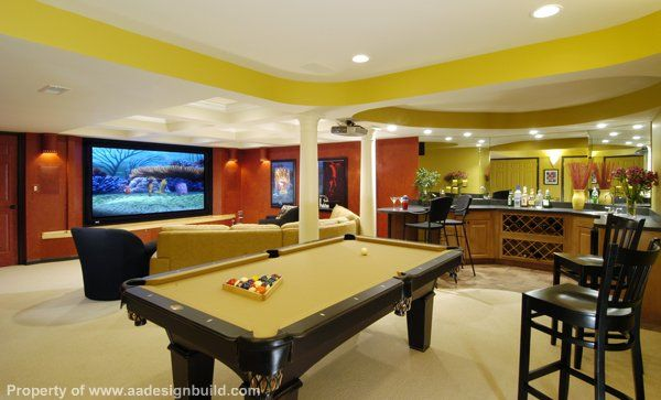 Man Cave With Pool Table And Bar : Pool table bar and seating in family room basement