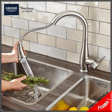 Baterie bucatarie Grohe Parkfield cu dus extractabil,