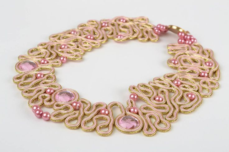 Beautiful Handmade Designer Soutache Necklace White with Pink Beads | eBay