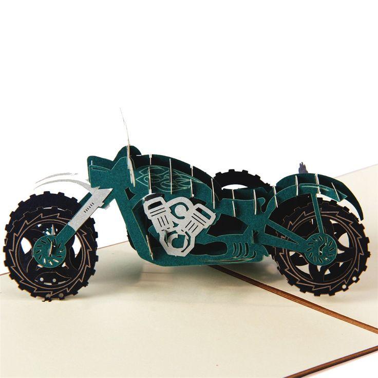 Мотор трицикл 3D лазерная резка всплывающие бумаги открытки праздник сбора винограда аниме настраиваемое приветствие подарочные карты Рождественские подарки пожелания 5029 К