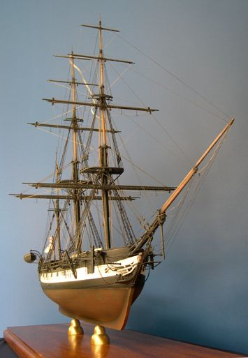 The completed model of HMS Beagle bow view