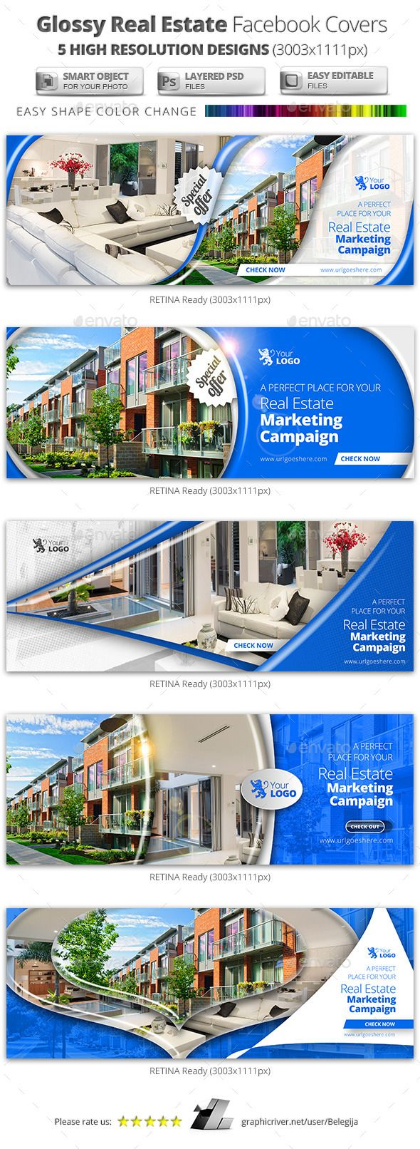 Glossy Real Estate Facebook Covers — Photoshop PSD #facebook #real estate • Available here → https://graphicriver.net/item/glossy-real-estate-facebook-covers/11264968?ref=pxcr