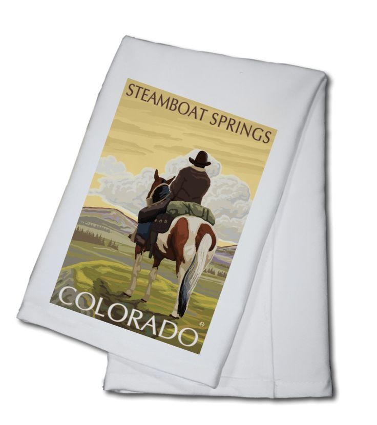 Towel (Steamboat Springs, Colorado - Cowboy on Horseback - Lantern Press Artwork)
