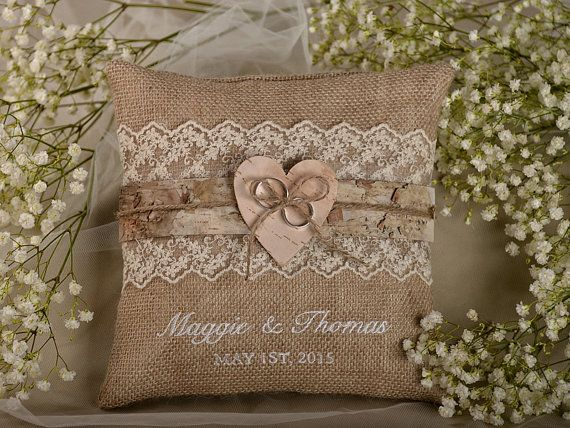 Lace Rustic Wedding Pillow, Birch Bark  Ring Bearer Pillow , Burlap Ring Pillow ,Embroidery Names, shabby chic natural linen