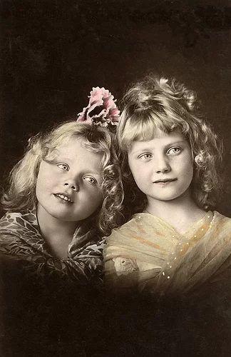 "Фото: ""Adorable Sisters.1898"" Beautifully hand coloured postcard. Notice that…"