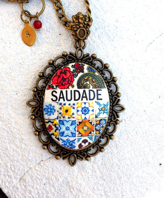 Portugal Antique Azulejo Tile Replica  Necklace  SAUDADE by Atrio,