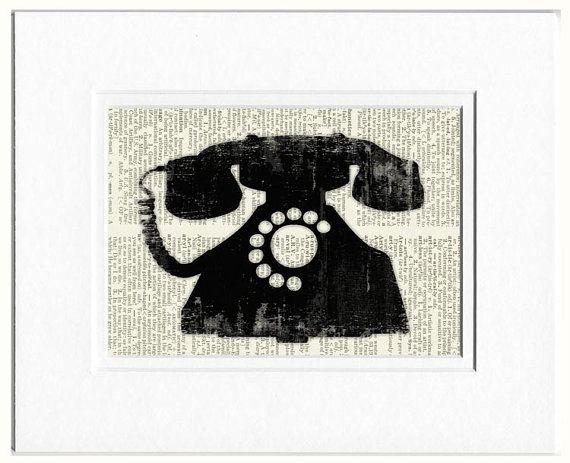 telephone - vintage telephone illustration on page from old dictionaryVintage Telephone Illustration