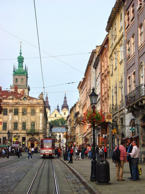 I remember this place!  I was here!  Market Square, Lviv, Ukraine by Ferry Vermeer (slowing down), via Flickr