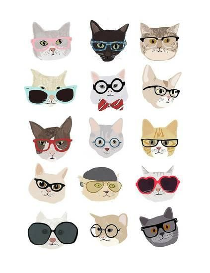 2829e989a10c5 Cats with Glasses Art Print by Hanna Melin at Art.com