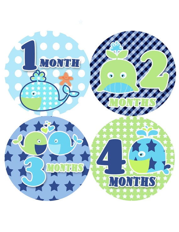 Monthly Onesie Baby Stickers  New Whale  Baby by PurplePossom, $9.00