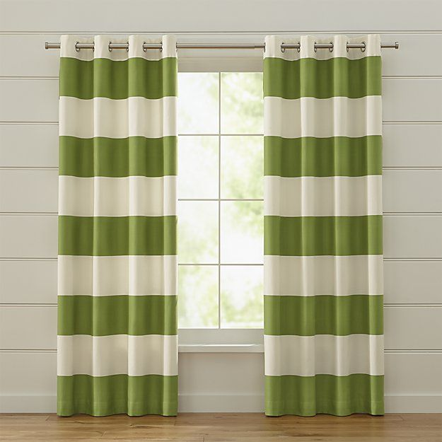 Alston is a fresh, modern curtain panel with broad, horizontal stripes in alternating ivory and green. A slight sheen to the sateen green stripes and silver grommets add a hint of shine. Panels are lined and finished with a three-inch hem.