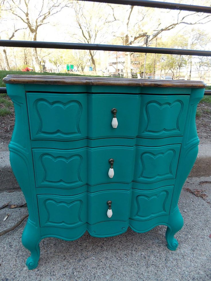 Two Tone Teal Nightstands