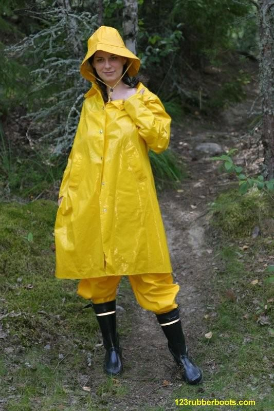 Yellow rainwear and wellington boots.
