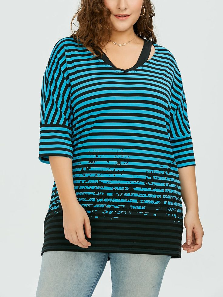 Plus Size Batwing Sleeve Striped T-Shirt - STRIPE 5XL