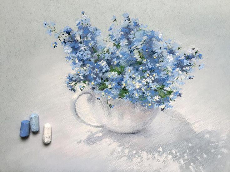 Незабудки Бумага Fabriano Tiziano, пастель Schmincke #пастель #незабудки #цветы #цветыпастелью #рисуюпастелью #softpastel #softpastels
