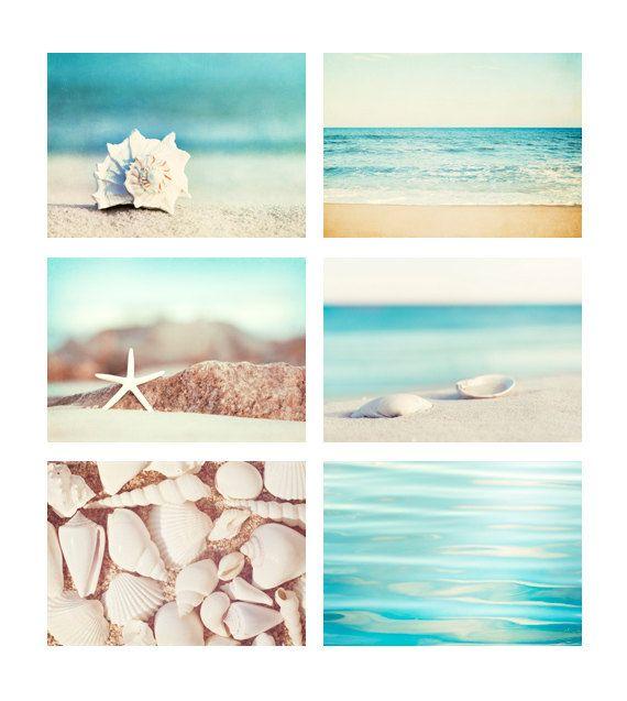 Beach Photo Set – Six 11×14, 8×10, 5×7 Photographs – coastal photography aqua blue print set ocean seashells white cream beige wall art – Caroline B