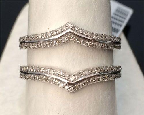 14k  White Gold 0.40ct Pave Set Solitaire Enhancer Diamonds Chevron Ring Guard Wrap by RG&D