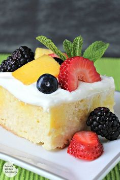Skinny Tres Leches Poke Cake by Renee's Kitchen Adventures - Easy and diet friendly Mexican cuisine inspired cake. One of the best diet desserts I have ever made!