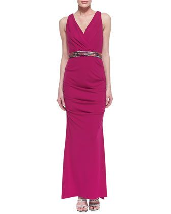 Sleeveless+Ruched+Hip+Gown+with+Belt,+Pink+Berry+by+Nicole+Miller+at+Neiman+Marcus.