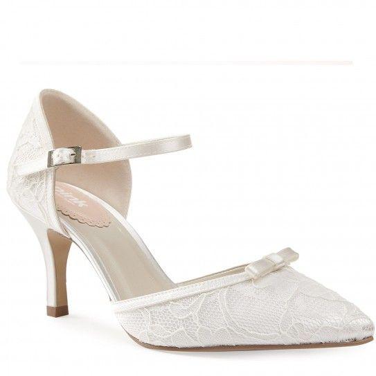 Chaussures de Mariée Ivoire Dentelle - satin - Escarpins salomés Talons  - Accessoires Mariage Cérémonie