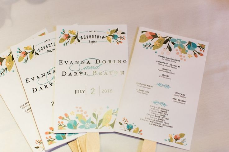 Wedding program fans | Banff summer wedding from Raraa Photography
