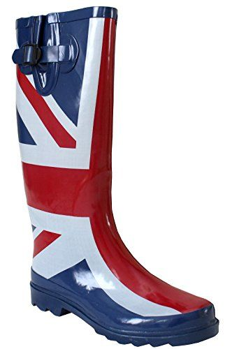 A&H Footwear ,  Mädchen Damen Arbeits-Gummistiefel , mehrfarbig - union jack - Größe: 37.5