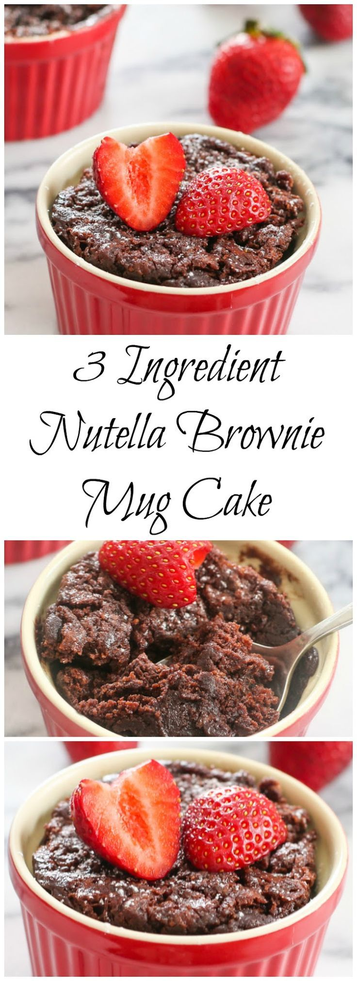 3 Ingredient Nutella Brownie Mug Cake for Two. This brownie is so fudgy and chewy!
