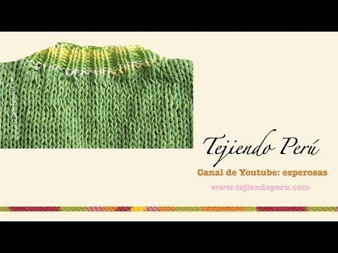 Dos agujas: cuello en V: tejiendo la pretina - YouTube
