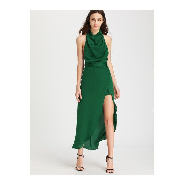 SheIn(sheinside) Cowl Neck Halter High Low Romper Dress ($22) ❤ liked on Polyvore featuring dresses, green, high low dresses, high low maxi dress, sexy maxi dresses, green maxi dress and sexy green dress