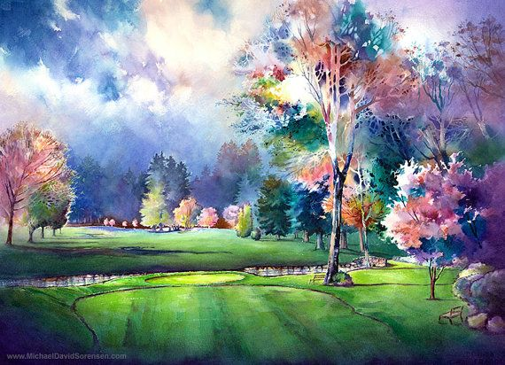 """The Eighth Hole At Royal Oaks""  Watercolor Painting by Michael David Sorensen www.MichaelDavidSorensen.com"