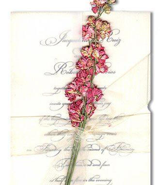 Pressed Flowers Invitation Only Wrapped In A Bow And Featuring