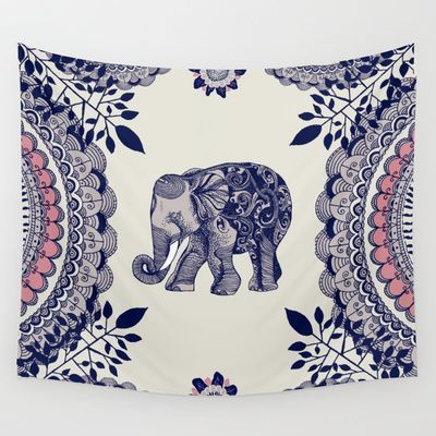 Elephant+Pink+Wall+Tapestry+by+Rskinner1122+-+$39.00