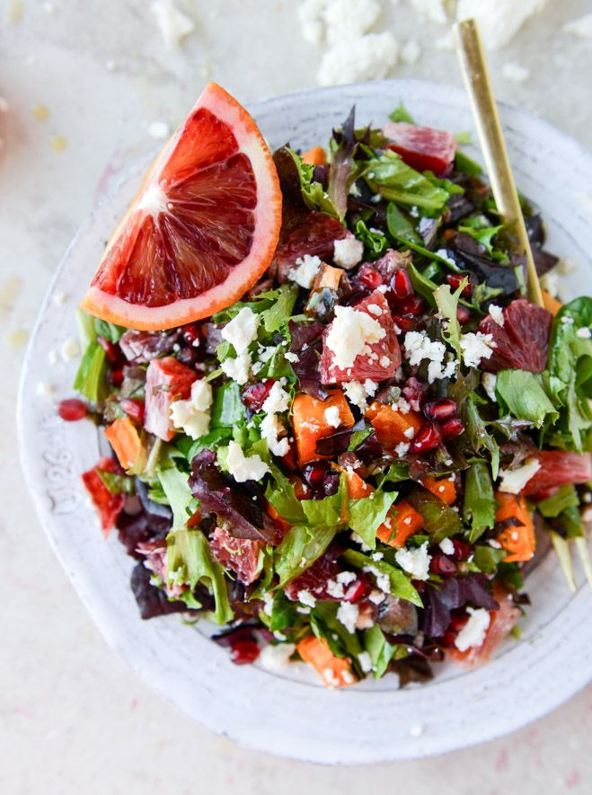 Winter chopped #salad with roasted sweet potatoes and blood orange vinaigrette #lunch #sopretty