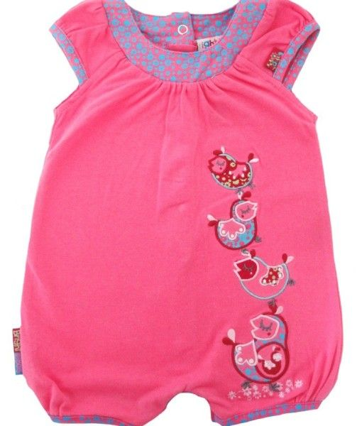 Girls soft stretch jersey romper available in Dark Pink or Light Pink. Sizes Newborn to 12-18 months.