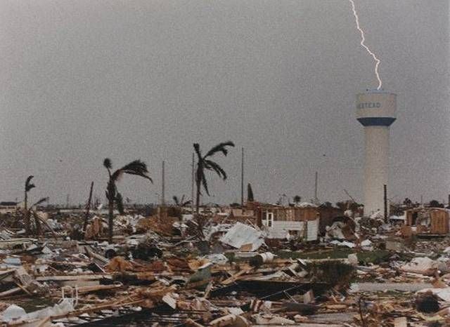 Lightning strike atop Homestead Fl water tower after Hurricane Andrew 1992 [466 X 640]