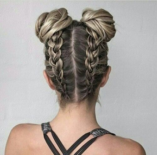 braid with buns casual braided hairstyles