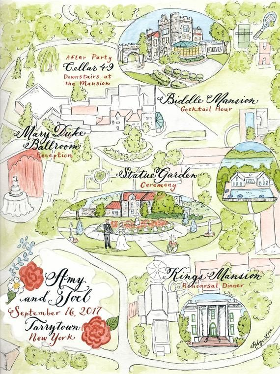 Watercolor Wedding Map Custom By Robyn Love Etsy Watercolor