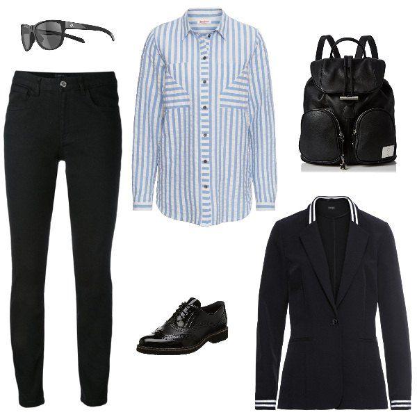 pantaloni neri camicia bianca giacca donna