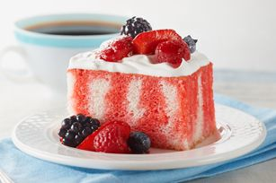 Berry Summer Poke Cake recipe...use sugar free jello and fat free cool whip to cut some calories. Very refreshing!